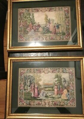 antique Hand Worked CROSS STITCH  Petit Point PAIR w Wood Frames classical scene