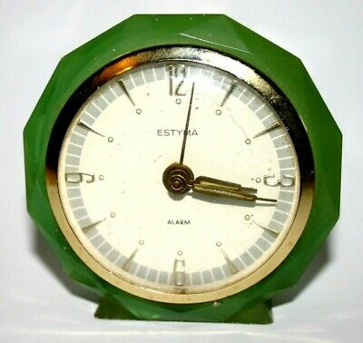 Vintage 1960s Estyma Alarm Clock Classical Art Deco Styling Requires Attention