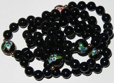 Antique / Vintage Chinese hand knotted Painted Black Onyx bead Necklace c1960's