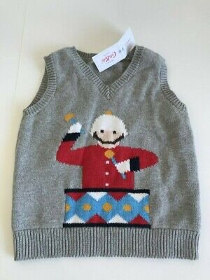 Cath Kidston boys marching band tank grey marl sleeveless jumper/top age 1-2year
