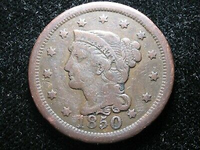 1850 Large Cent * Braided Hair *