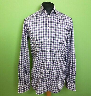 "ETON Mens Shirt Long Sleeve Blue Check Size 15.75"" Collar 40"" Easy Iron Reg Fit"