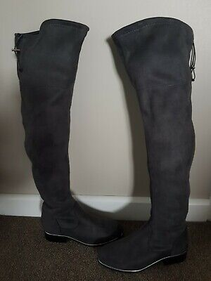 Brand New Primark Ladies/Girls Grey Faux Suede Over The Knee Boots Size 4