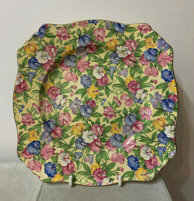 "Vintage Royal Winton Chintz 8 "" Plate Sweet Pea Pattern"