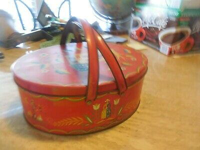 Vintage Tin Litho Basket Red Oval w Handles Pennsylvania Dutch Folk Art Colonial