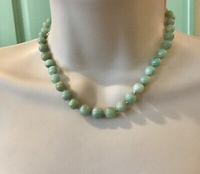 antique jade Necklace beads graduated knotted apple green light green Choker
