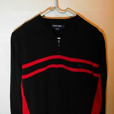 "POLO Golf RALPH LAUREN Men's Polo Shirt Black Red Large Rare ""Polo"" Lettering"
