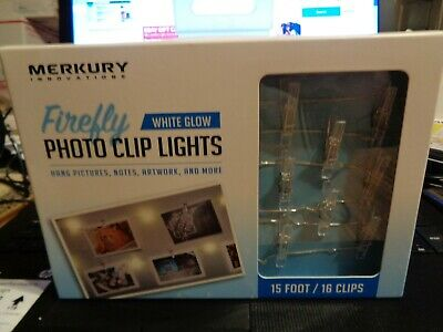 Merkury LED Firefly Mini-Clip String Lights NEW Hang Photos,Cards,Notes- 15 Ft