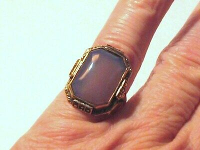 Victorian Deco Hand Set Marcasite Chrysoprase Gold Sterling Ring  5.1g Sz 8.5