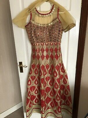 Ladies red And Gold Indian Long Dress
