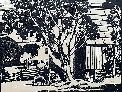 Vintage Arts & Crafts woodblock print Brown County listed Mission Stickley era