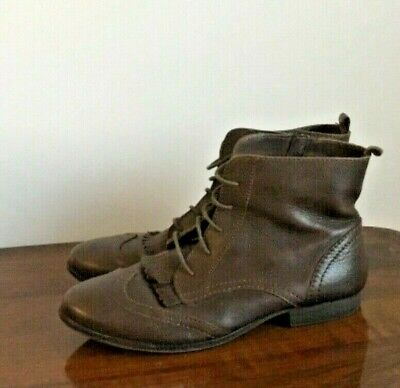 Zara girls teens ankle boots shoes kids size 38 dark brown faux leather