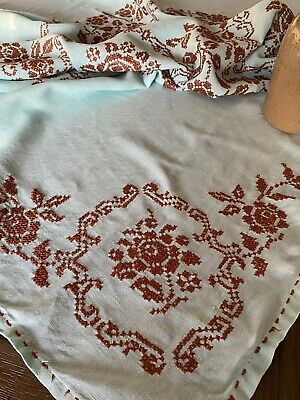 Vintage Mid Century Handmade Turquoise  Brown Floral Cross Stitch Tablecloth 🧵
