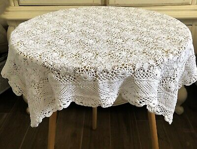 """Shabby Cottage Chic/Country Crochet Tablecloth/Topper Cotton~White~26"""" Square"""