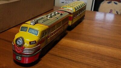 T.N Nomura Lithographed Tin Toy Central R.R Battery Operated Train, Engine is OK