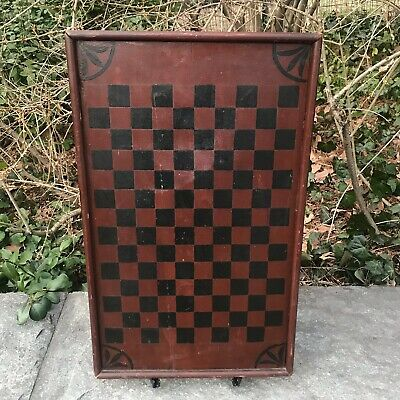Antique Primitive Folk Art Paint Decorated Checkerboard Game Board 1 Board Pine