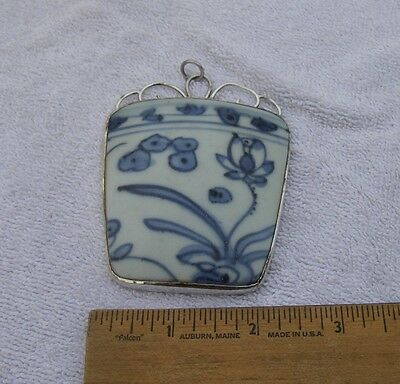 Antique CHINESE MING PORCELAIN SHARD Pendant-Sterling Mount-NR