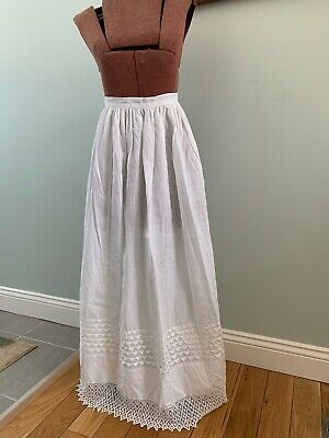 Antique 19th Century Victorian White Cotton & Crocheted Lace Long BeautifulApron