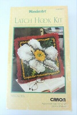 "Caron WonderArt Latch Hook Kit Magnolia 12"" x 12"" New Opened Not Started"