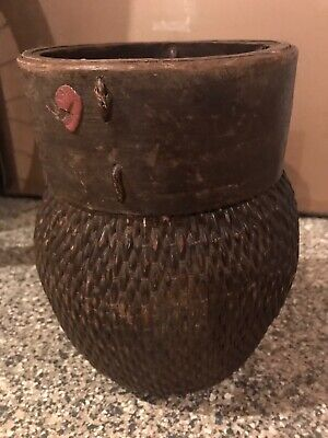 Antique Chinese Willow And Wood Fish Basket