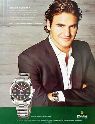 2010 Rolex Watch Roger Federer Tennis Photo Print AD Oyster Perpetual Milgauss