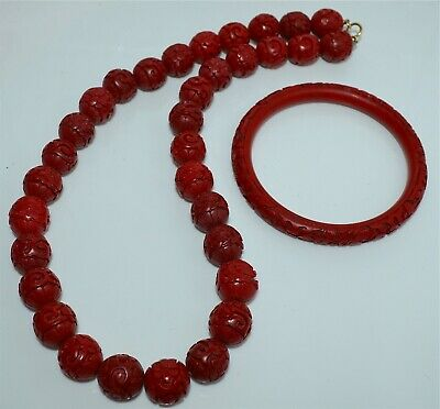 Old or Antique Chinese Cinnabar Bead Necklace 14 Kt Gold Clasp Bangle Bracelet