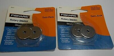 2 Twin Packs (4) Fiskars Rotary Cutter Blades 28Mm Stainless Steel Sewing 9541