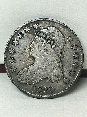 1830 Capped Bust Silver Half Dollar - Fine !
