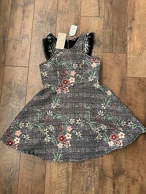 NWT Hannah Banana Embellished Floral & Houndstooth Fit & Flare Dress Girls Sz 14