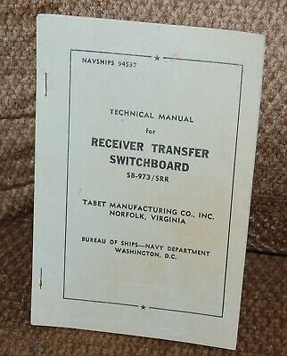 Technical Manual for Receiver Transfer Switchboard-SB-973/SRR