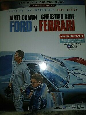 Ford V Ferrari (Blu-Ray + Digital Code +Slipcover, 2020) New Sealed Matt Damon