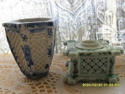 2 pcs chinese porcelain vase planter rare? small blue white inkwell celadon old