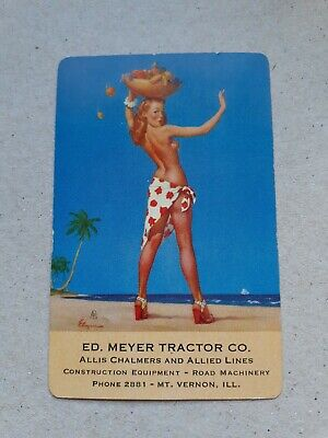playing cards swap. One card, Pin-up girl,  AD for Ed Meyer Tractor Co.