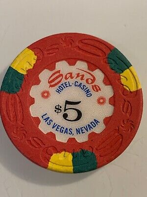 SANDS HOTEL $5 Casino Chip Las Vegas Nevada 3.99 Shipping