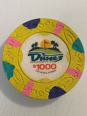 DUNES HOTEL $1000 Casino Chip Las Vegas Nevada 3.99 Shipping