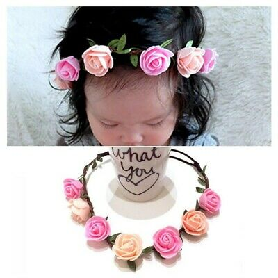 Kids Headdress Handmade Baby Flower Wreath Headband Rose Headwear Hair Band