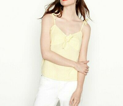 BNWT Red Herring Womens Yellow And White Striped Tie Front Camisole Top size 16