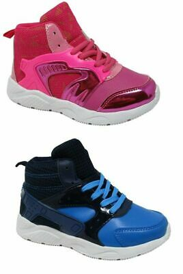 Childrens Kids Girls Boys Blue Pink High Top Trainers Sneakers Size 1-2