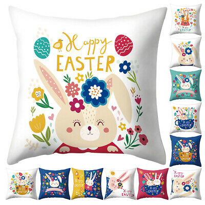 Fj- Happy Easter Bunny Egg Flower Pillow Case Sofa Bed Car Cafe Cushion Cover Ni