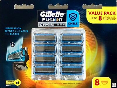Gillette Fusion Proshield CHILL Razor Blades 8 Pack Made In Germany New & Sealed