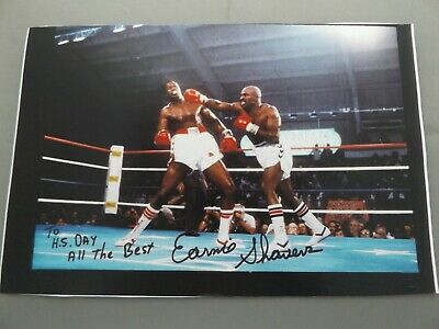 "12"" x 8"" PHOTO PRINT HAND SIGNED BY EARNIE SHAVERS - HEAVYWEIGHT BOXING"