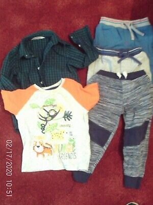 bundle boys clothe 5 items age 2-3 3 joggers,t-shirt and shirt good condition