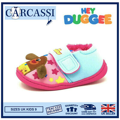 Kids/Childrens Hey Duggee Pink Blue Slippers Booties Girls Mules Size 9