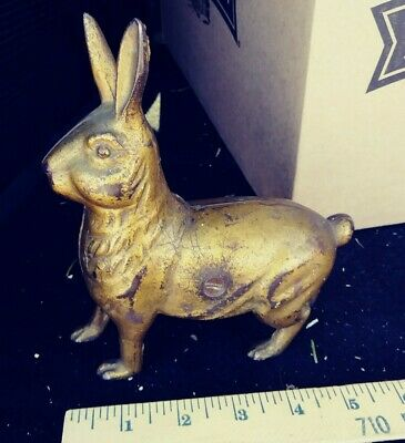 Cast Iron Standing Rabbit Still Bank, Large Bunny, Gold Tone, Ac Williams 6 Inch