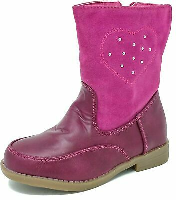 Kids Childrens Girls Fur Lined Faux Suede Pink Heart Ankle Boots Size 5-9