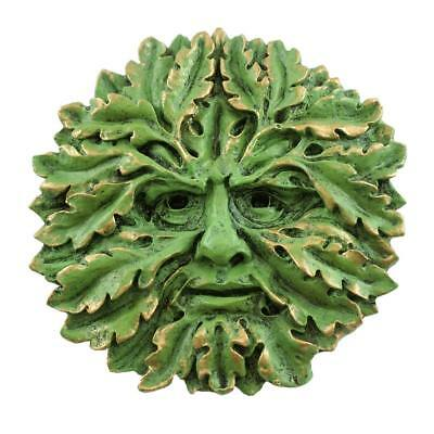 Oak Greenman Face Wall Plaque (4470) 5 Inch Hand Painted Resin