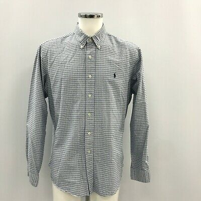 POLO RALPH LAUREN Blue Grey White Check Button Front Casual Shirt Mens XL 470934