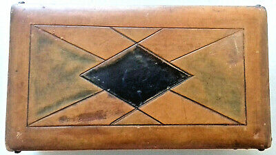 ANTIQUE ARTS & CRAFTS 3 DECK PLAYING CARD BOX WOOD & FIGURED LEATHER 1890s