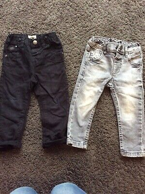 Toddler Boys Next Black & Grey Denim Skinny Jeans Trousers 12-18 Months