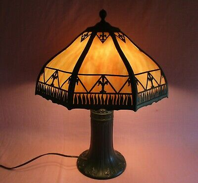 Antique Slag Arts & Crafts Glass Green Bent Panel Table Lamp Handel B&H Era